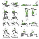 Set systematyczni bodybuilding ćwiczenia Obraz Royalty Free