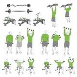 Set systematyczni bodybuilding ćwiczenia Fotografia Royalty Free
