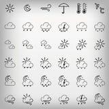 Set szarości pogody ikony Zdjęcia Stock