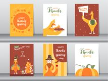 Set Szczęśliwa dziękczynienie dnia karta, projekt, plakat, szablon, powitanie, zwierzę, śliczne, Wektorowe ilustracje, royalty ilustracja