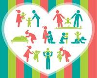Set szczęśliwe rodzinne ikony Fotografia Royalty Free