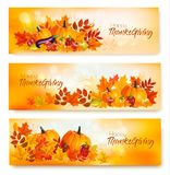 Set Szczęśliwi dziękczynienie sztandary z jesieni warzywami Zdjęcia Royalty Free