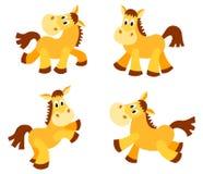 Set szczęśliwi konie. Obrazy Stock