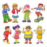 Set szczęśliwi kreskówka dzieciaki Obraz Stock