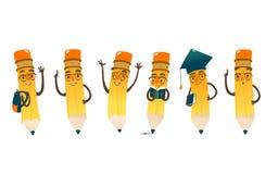 Set szczęśliwi kreskówka ołówki, wektorowa ilustracja ilustracji