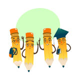 Set szczęśliwi kreskówka ołówki, wektorowa ilustracja ilustracja wektor