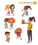 Set szczęśliwi radośni kreskówka dzieciaki w ruchu i kobieta również zwrócić corel ilustracji wektora ilustracji