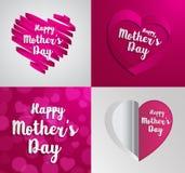 Set Szczęśliwy matka dnia kartka z pozdrowieniami Fotografia Stock