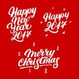 Set Szczęśliwy nowy rok 2017 i Wesoło boże narodzenia wręcza pisać literowanie Fotografia Stock