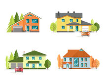 Set szczegółowi kolorowi chałupa domy Dom rodzinny Mieszkanie stylowi nowożytni budynki ilustracja wektor