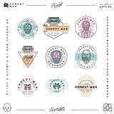 Set szczerego mężczyzna firmy ubraniowe etykietki menswear produkci tekstylni emblematy również zwrócić corel ilustracji wektora ilustracji