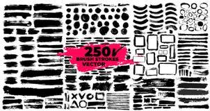 Set szczotkarscy uderzenia Paintbrush pudełka dla teksta elementy projektów crunch Brudni tekstura sztandary Atramentów splatters ilustracji