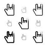 Set szczotkarskiego rysunku wektoru skała na ikonach, pociągany ręcznie Obraz Stock