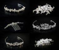 Set sześć 6 ślubnych diademów Zdjęcie Royalty Free