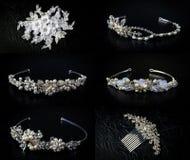 Set sześć 6 ślubnych diademów Obrazy Royalty Free