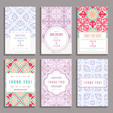 Set Sześć Ślubnych kart Z Orientalnymi ornamentami Zdjęcia Royalty Free