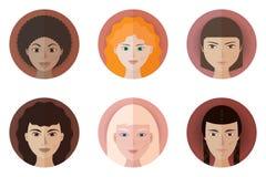 Set sześć avatars nastoletnie dziewczyny różne rasy i narodowości Zdjęcia Stock