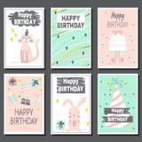 Set sześć children urodzinowe karty Zdjęcie Royalty Free