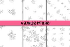 Set sześć czarny i biały kwiecistych wzorów Zdjęcia Royalty Free