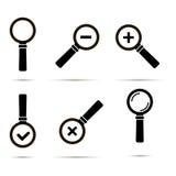Set sześć czarnych ikon magnifier szkła odizolowywający na białych półdupkach Obraz Stock