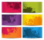 Sześć kolorowych kart z plamami i sercami Obraz Royalty Free