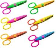 Set sześć nożyc w różnych kolorach Zdjęcia Stock