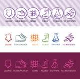 Set sześć prostych wektoru konturu buta materiału ikon ilustracji