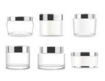 Set sześć przejrzystych kosmetyków tubk wektor fotografia royalty free