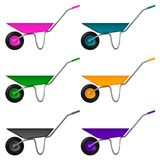 Set sześć toczących wheelbarrow z barwionym ciałem i rękojeściami, wektorowa ilustracja Zdjęcia Stock