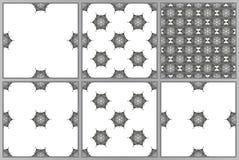 Set sześć wektorowych bezszwowych geometrical wzorów na białym tle Rocznik tekstury Zdjęcia Royalty Free