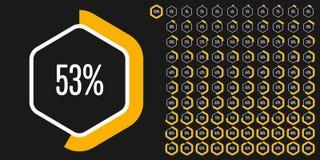 Set sześciokąta odsetka diagramy od (0) 100 Obraz Stock