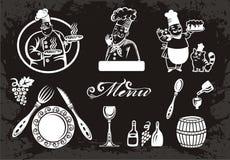 Set szefowie kuchni i karmowi elementy Zdjęcia Royalty Free