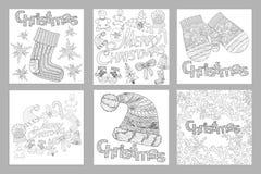 Set Szkicowa ręka rysujący Doodle wzór przedmioty i symbole na Bożenarodzeniowym temacie, barwi strony dla dorosłego royalty ilustracja