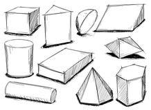 Set Szkicowi 3D Geometrical kształty Fotografia Stock