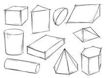 Set Szkicowi 3D Geometrical kształty Zdjęcia Royalty Free