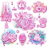 Set szkicowy miłość ilustracji
