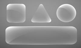 Set szklane postacie różnorodni kształty na szarym b Zdjęcia Royalty Free