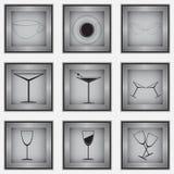Set 9 szklanych ikon Zdjęcia Royalty Free