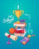 Set szkolne dostawy i ikony tylna szkoły Zdjęcia Royalty Free