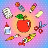 Set szkolni stacjonarni elementy Obraz Royalty Free