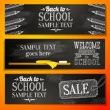Set szkolni sztandary z miejscem dla twój teksta i ilustracji