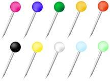 Set szpilki z głowami w różnych kolorach ilustracji