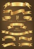 Set 10 sztandarów wektoru złota ilustracja Fotografia Royalty Free
