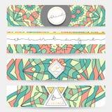Set 4 sztandar Mandala geometryczny deseniowy szablon Zdjęcie Stock