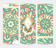 Set 3 sztandar Mandala geometryczny deseniowy szablon Fotografia Stock