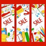 Set sztandar sprzedaż materiały, szkolne rzeczy Towary dla trenować również zwrócić corel ilustracji wektora ilustracja wektor