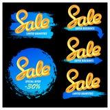 Set sztandar sprzedaż w nowożytnym stylu handwriting Mieszanka listy Zdjęcia Stock