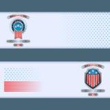 Set sztandaru projekt z odznaką, kruszcową osłoną i flaga państowowa, barwi dla czwarty Lipiec, Amerykański dzień niepodległości Obrazy Royalty Free