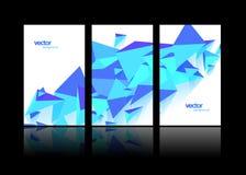 Set 3 sztandaru projekta szablonu z abstrakcjonistycznymi poligonalnymi przedmiotami Zdjęcia Royalty Free