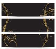 Set sztandaru złoty kwiecisty Zdjęcie Stock